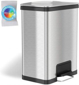 iTouchless Airstep 13 Gallon Step Pedal Trash Can - Odor Free Trash Can